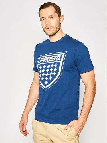 PROSTO. T-Shirt KLASYK Shield 8565 Granatowy Regular Fit