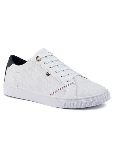 Tommy Hilfiger Sneakersy Tommy Jacquard Leather Sneaker FW0FW04602 Biały