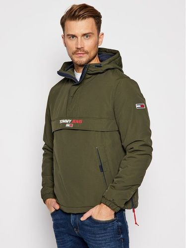 Tommy Jeans Kurtka anorak Solid Popover DM0DM08760 Zielony Regular Fit