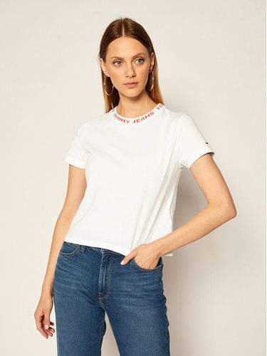 Tommy Jeans T-Shirt Tjw Branded Neck DW0DW08537 Biały Regular Fit