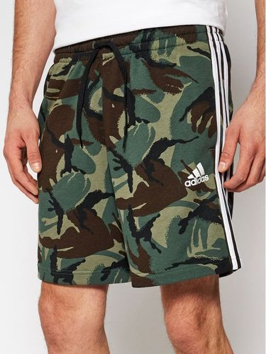adidas Szorty sportowe Essentials French Terry Camouflage GK9621 Zielony Regular Fit