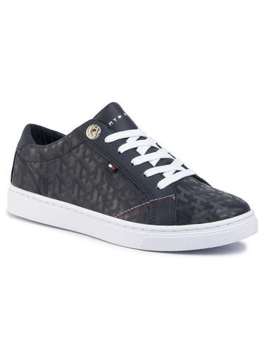 Tommy Hilfiger Sneakersy Tommy Jacquard Leather Sneaker FW0FW04602 Granatowy