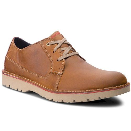 Półbuty CLARKS - Vargo Plain 261366767 Dark Tan Leather