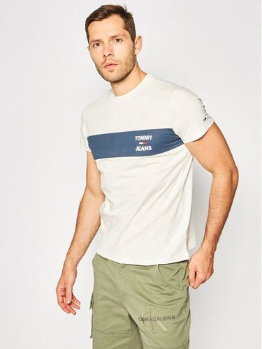 Tommy Jeans T-Shirt Stripe Logo DM0DM07858 Szary Regular Fit