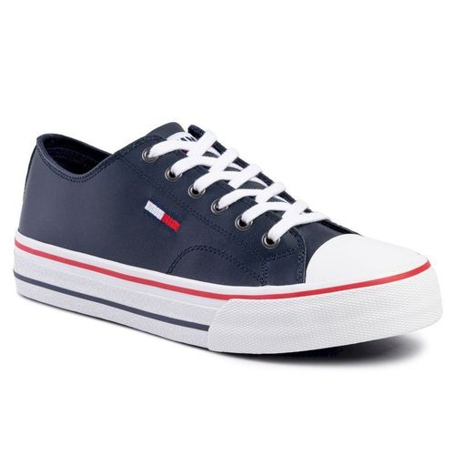 Trampki TOMMY JEANS - Leather City Sneaker EM0EM00394 Black Iris CBK