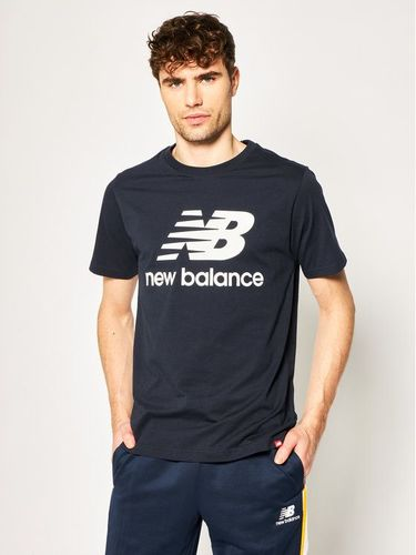 New Balance T-Shirt Essentials Stacked Logo Tee MT01575 Granatowy Athletic Fit