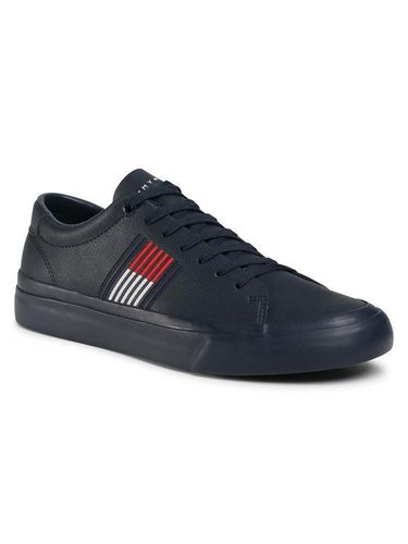 Tommy Hilfiger Sneakersy Corporate Leather Sneaker FM0FM02853 Granatowy