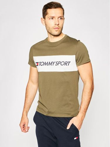 Tommy Sport T-Shirt Colourblock Logo S20S200375 Zielony Regular Fit