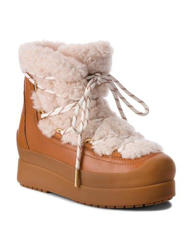 Tory Burch Buty Courtney 60Mm Shearling Boot 50059 Brązowy