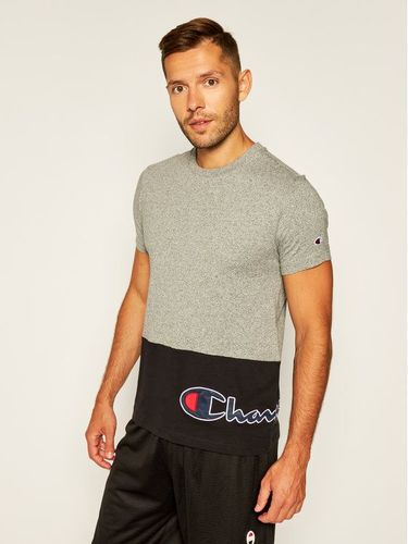Champion T-Shirt Colour Block Wraparound Logo 214208 Szary Comfort Fit