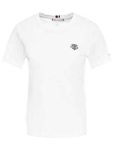 Tommy Hilfiger T-Shirt Embroidery WW0WW26865 Biały Regular Fit