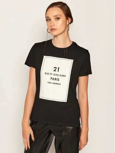 KARL LAGERFELD T-Shirt Square Address Logo 205W1711 Czarny Regular Fit