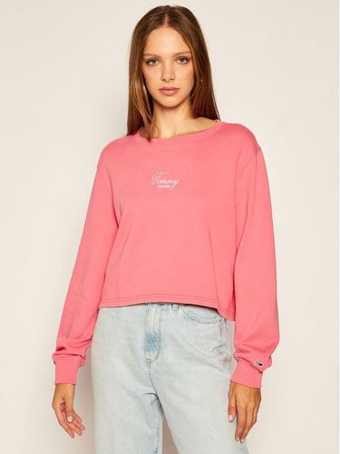 Tommy Jeans Bluza Washed Logo DW0DW08549 Różowy Relaxed Fit