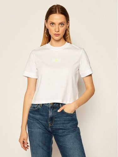 Calvin Klein Jeans T-Shirt Badge Tee J20J214148 Czarny Cropped Fit