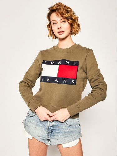 Tommy Jeans Bluza Tommy Flag Crew DW0DW07414 Zielony Regular Fit